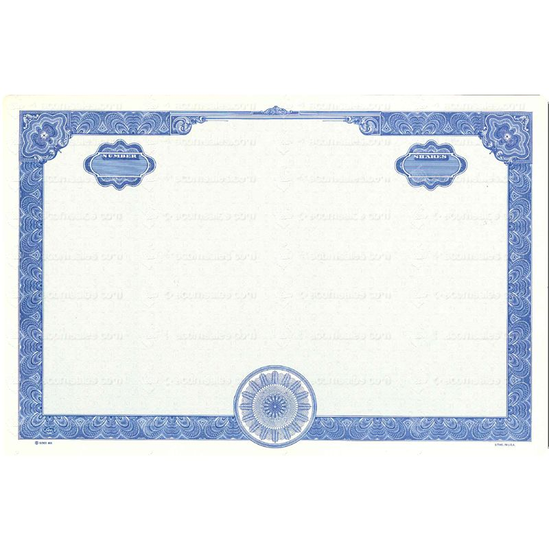 Blank Stock Certificate Goes 858 Certificate Paper