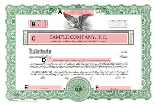 Short Form Blue Certificate – Stock Certificate Example